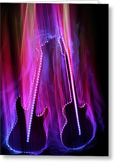 Musical Imagery Greeting Cards - 2 Guitars 7 Greeting Card by Patrick Daniel Trombly