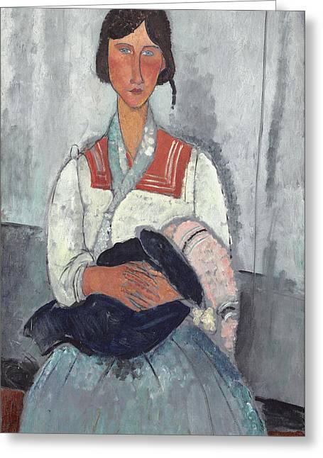 Modigliani Greeting Cards - Gypsy Woman With Baby Greeting Card by Amedeo Modigliani