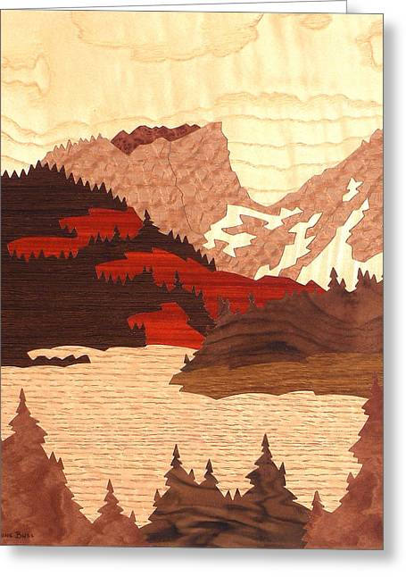 Red And White Quilt Greeting Cards - Hallett Peak Greeting Card by Lynne Buss