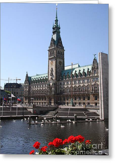 Hamburg - City Hall With Fleet - Germany Greeting Card by Christiane Schulze Art And Photography