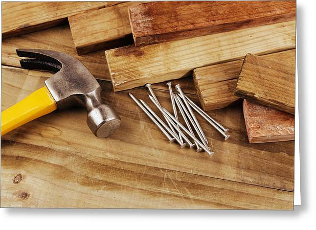 Wood Plank Flooring Greeting Cards - Hammer and nails  Greeting Card by Les Cunliffe