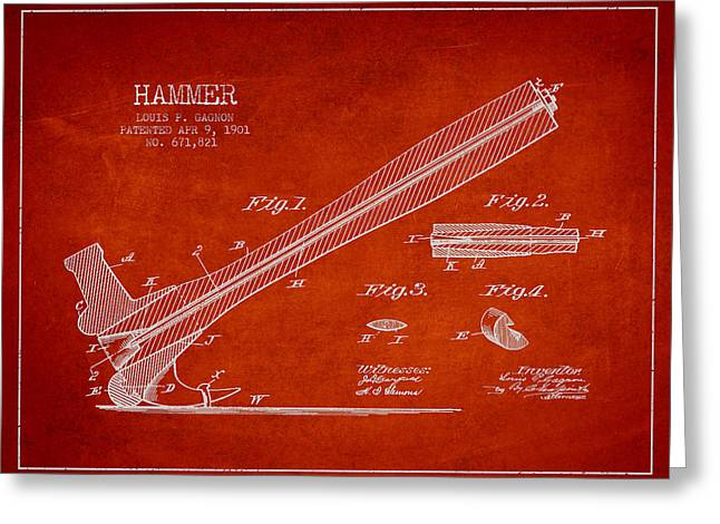 Carpenter Greeting Cards - Hammer Patent Drawing from 1901 Greeting Card by Aged Pixel
