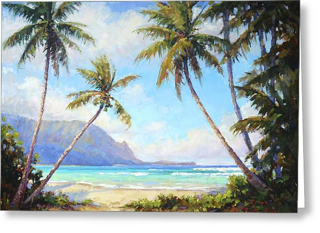 Hanalei Beach Greeting Cards - Hanalei Bay Greeting Card by Jenifer Prince