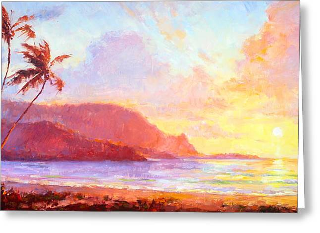 Sunset Prints Greeting Cards - Hanalei Sunset Greeting Card by Jenifer Prince