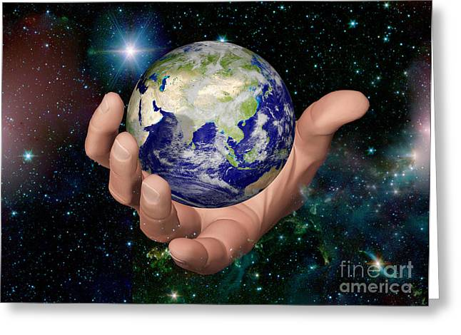 Global Awareness Greeting Cards - Hand Holding The Earth Greeting Card by Scott Camazine