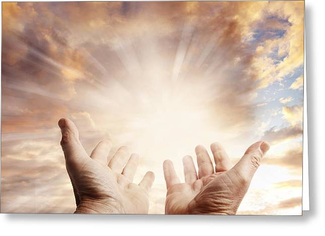 Heavenly Sunrise Greeting Cards - Hands in sky Greeting Card by Les Cunliffe