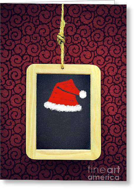 New Year Greeting Cards - Hanged Xmas Slate - Santas Cap Greeting Card by Carlos Caetano