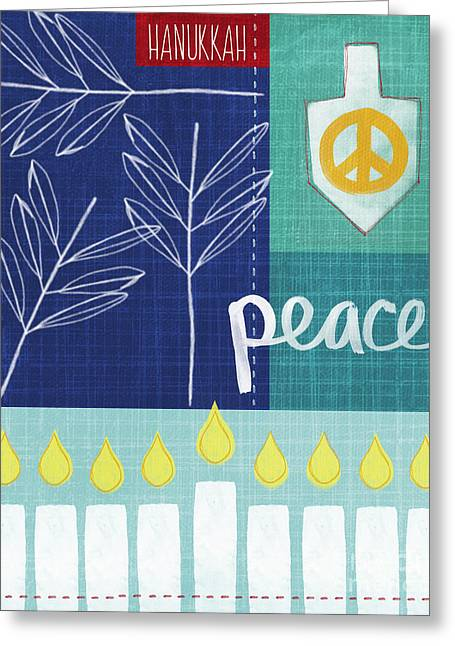 Jewish Greeting Cards - Hanukkah Peace Greeting Card by Linda Woods