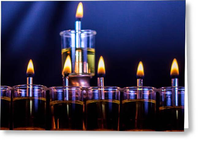 Hanuka Greeting Cards - Hanukkiyah Greeting Card by Mark Perelmuter