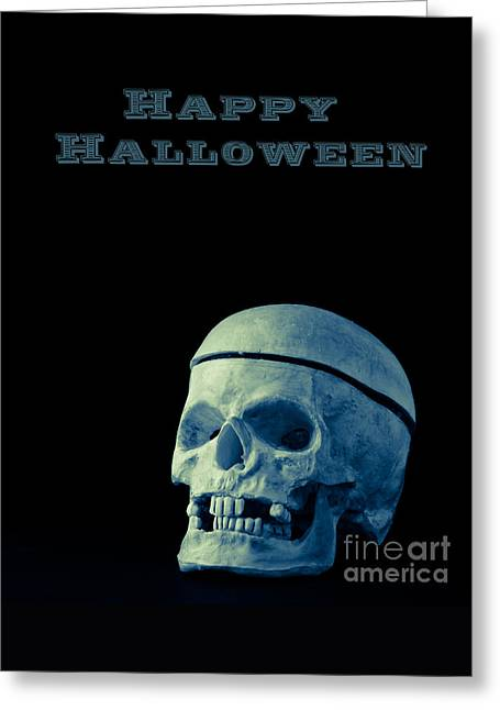 Human Skull Greeting Cards - Happy Halloween Greeting Card by Edward Fielding