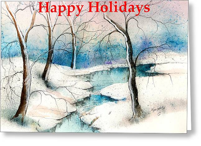 Skiing Art Cards Greeting Cards - Happy Holidays In The Country  Greeting Card by Anna Sandhu Ray
