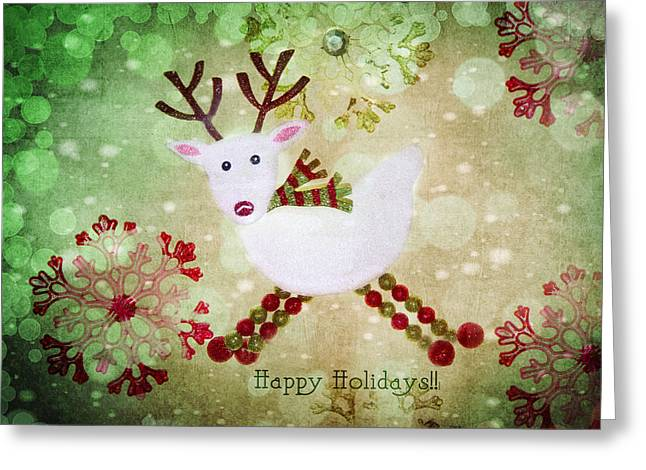 Reindeers Greeting Cards - Happy Holidays Greeting Card by Rebecca Cozart