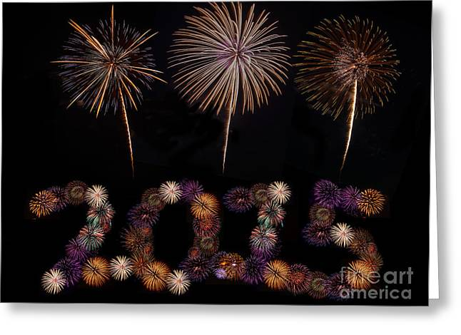 Flower Bombs Greeting Cards - Happy New Year Greeting Card by Anek Suwannaphoom