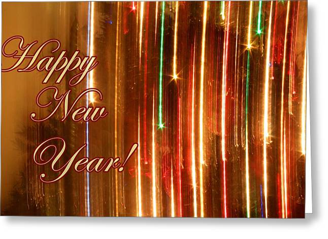 Rainbow Fantasy Art Greeting Card Greeting Cards - Happy New Year Lights Greeting Card by Julia Fine Art And Photography