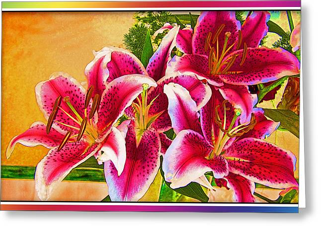 Abstract Vase Flower Print Greeting Cards - Happy to be Alive Greeting Card by Chuck Staley