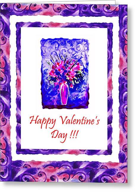 Yupo Greeting Cards - Happy Valentines Day Greeting Card by Irina Sztukowski