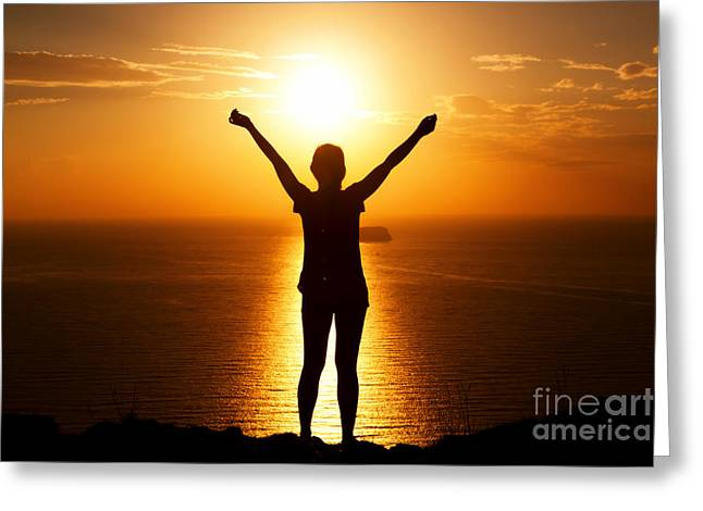 Recently Sold -  - Sea View Greeting Cards - Happy woman on the rock with hands up Greeting Card by Michal Bednarek