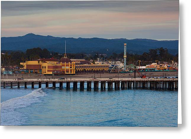 Santa Cruz Wharf Greeting Cards - Harbor And Municipal Wharf At Dusk Greeting Card by Panoramic Images