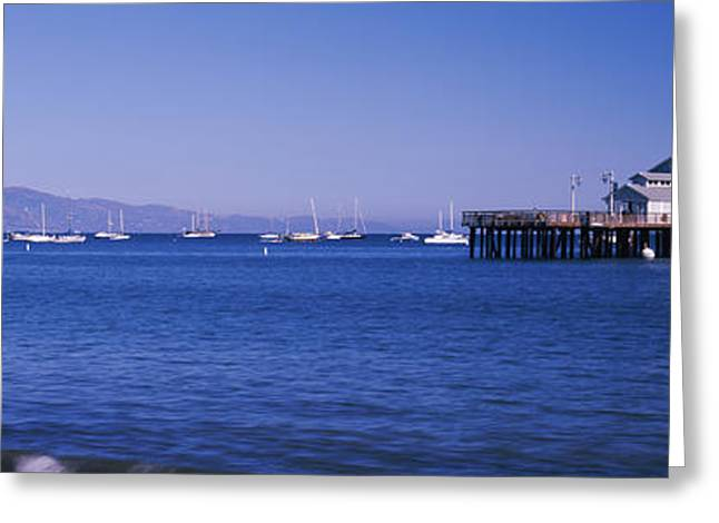 Stearns Wharf Greeting Cards - Harbor And Stearns Wharf, Santa Greeting Card by Panoramic Images