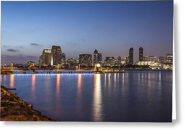 Coronado Harbor Greeting Cards - Harbor Lights Greeting Card by Joseph S Giacalone