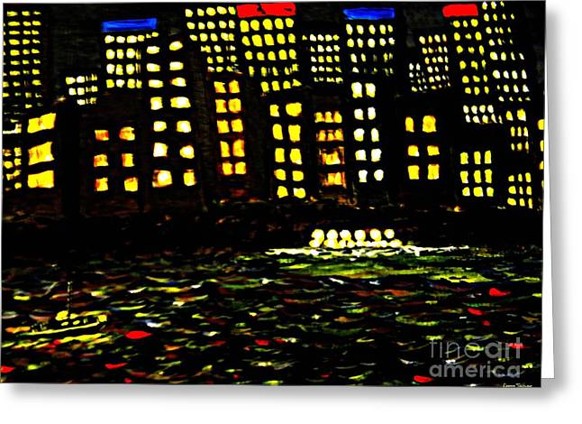 Harbour Lights Greeting Card by Leanne Seymour