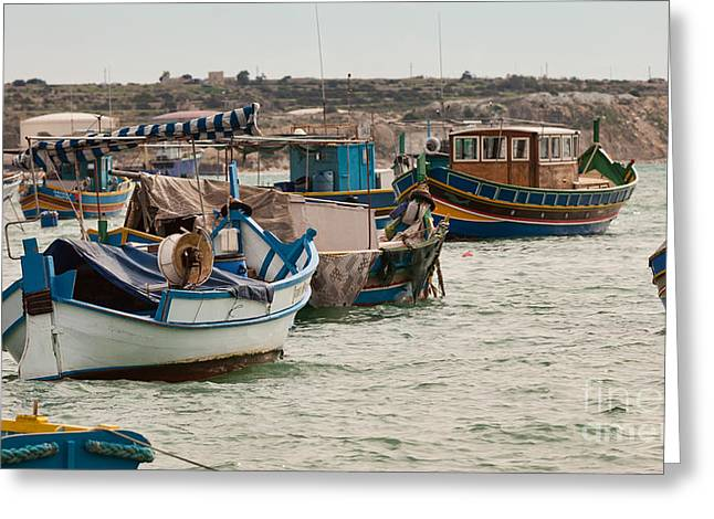 Maltese Greeting Cards - Harbour of Marsaxlokk Malta Greeting Card by Frank Bach