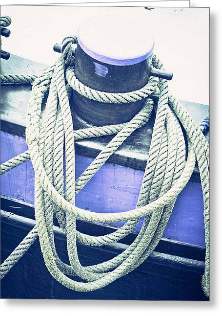 Bollard Greeting Cards - Harbour rope Greeting Card by Tom Gowanlock