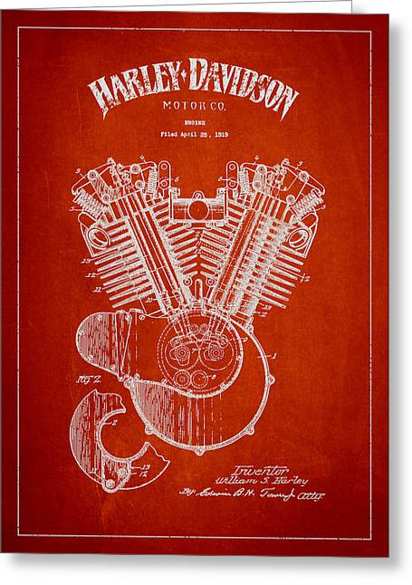 D Greeting Cards - Harley Davidson Engine Patent Drawing From 1919 - Red Greeting Card by Aged Pixel