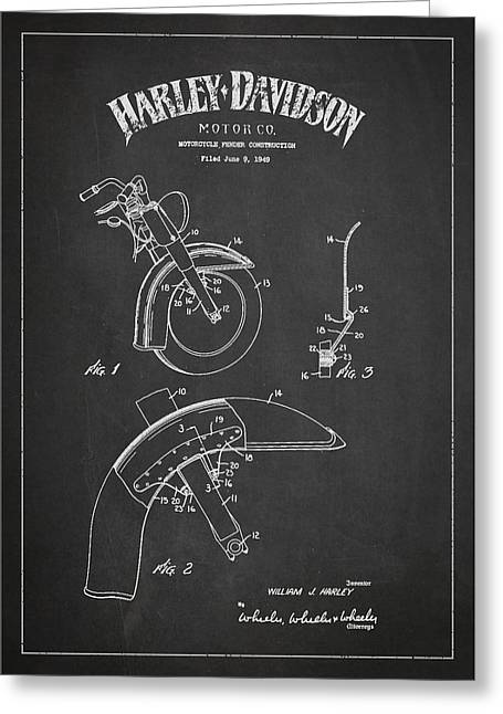 Chopper Greeting Cards - Harley Davidson Fender Construction Patent Drawing From 1949 - Dark Greeting Card by Aged Pixel