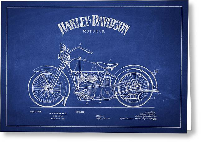 Technical Greeting Cards - Harley Davidson Motorcycle Cycle Support Patent Drawing From 192 Greeting Card by Aged Pixel
