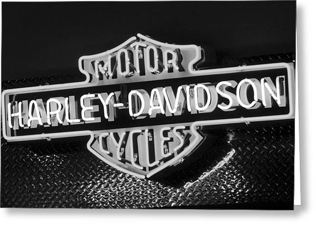Neon Sign Greeting Cards - Harley-Davidson Neon Sign Greeting Card by Jill Reger