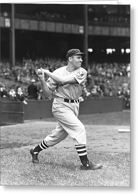 Cleveland Indians Stadium Greeting Cards - Harold A. Hal Trosky, Sr. Greeting Card by Retro Images Archive