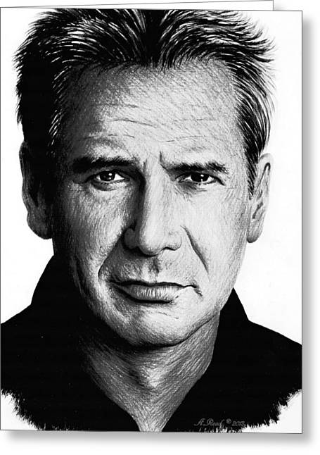 Coloured Pencil Greeting Cards - Harrison Ford Greeting Card by Andrew Read