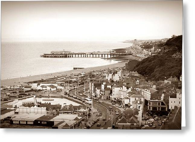 Town Pier Greeting Cards - Hastings Greeting Card by Sharon Lisa Clarke