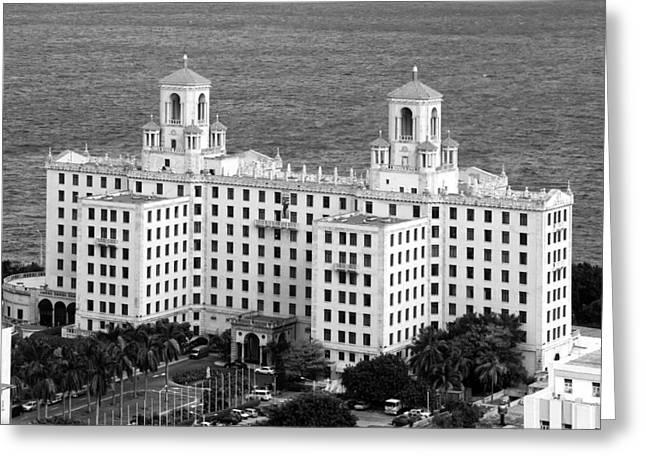 Old Street Greeting Cards - Havanas Hotel Nacional Greeting Card by Mountain Dreams