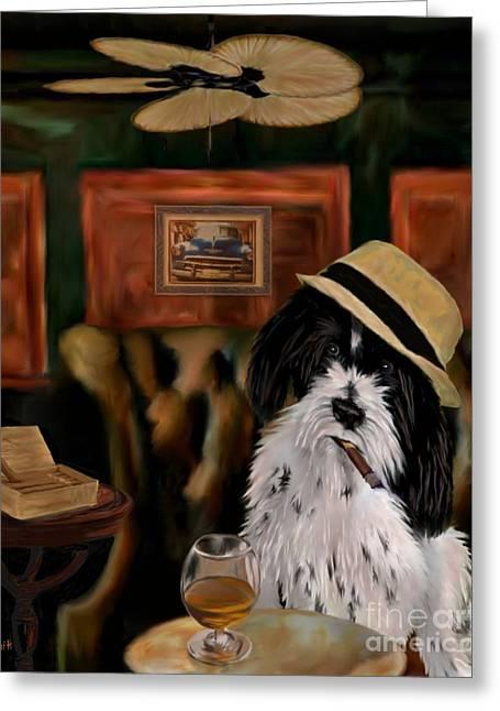 Brandy Cigar Art Greeting Cards - Havanese Greeting Card by Laura Toth