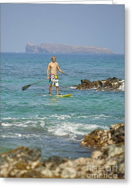 Fulfilled Greeting Cards - Hawaii, Maui, Makena, Athletic Stand Up Paddle Surfer In Ocean Greeting Card by MakenaStockMedia
