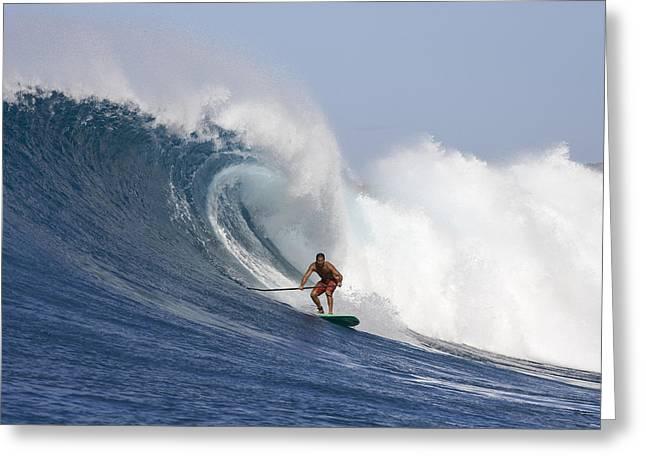 Steer Greeting Cards - Hawaii, Oahu, Makaha, Brian Keaulana Paddle Surfing A Big Wave. Greeting Card by Joss Descoteaux
