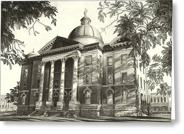 Capitol Drawings Greeting Cards - Hays County Capitol Greeting Card by Norman Bean