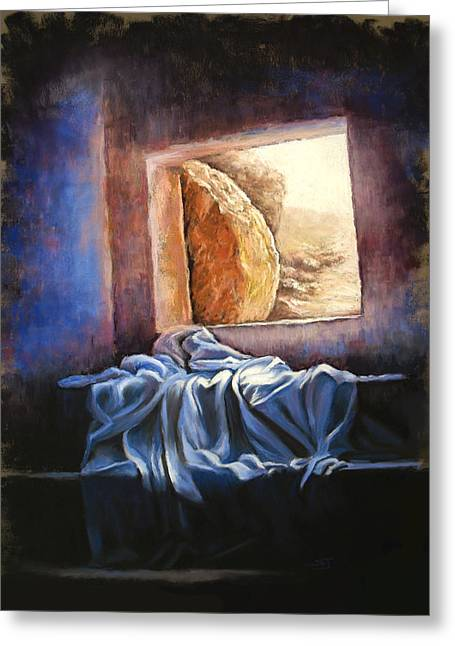 Christian Pastels Greeting Cards - He Is Risen Greeting Card by Susan Jenkins
