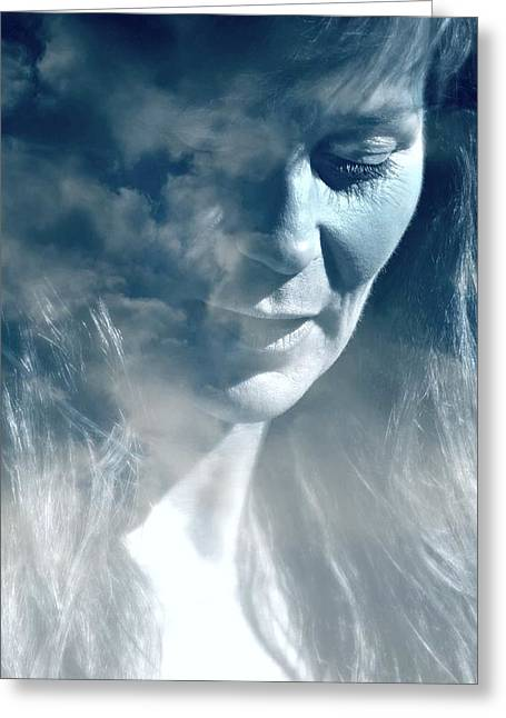 Candid Portraits Greeting Cards - Head in the Clouds Greeting Card by Diana Angstadt