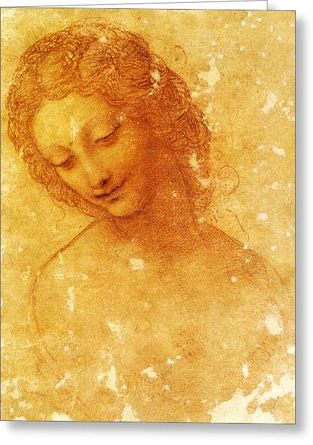 1510 Paintings Greeting Cards - Head of Leda Greeting Card by Leonardo Da Vinci