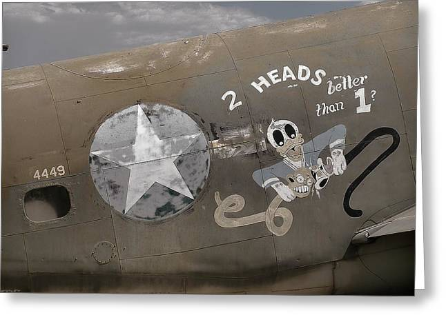 Military Airplanes Greeting Cards - 2 Heads Are Better Than 1 Greeting Card by Ken Smith