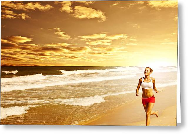 Healthy Woman Running On The Beach Greeting Card by Anna Omelchenko