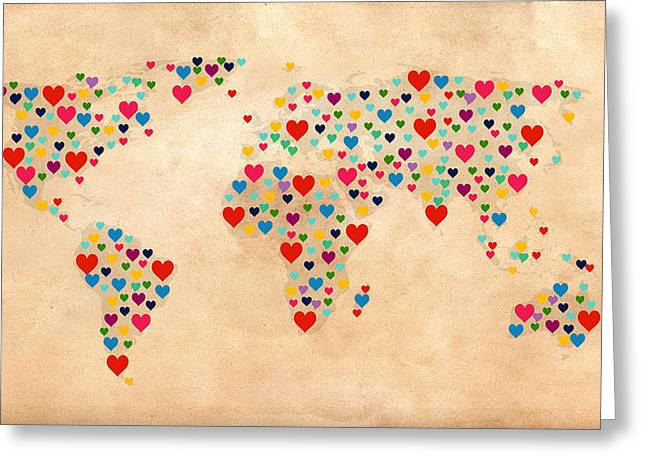 Heart Map  Greeting Card by Mark Ashkenazi
