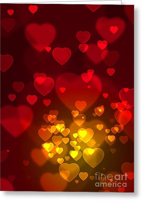 Holiday Decoration Greeting Cards - Hearts Background Greeting Card by Carlos Caetano