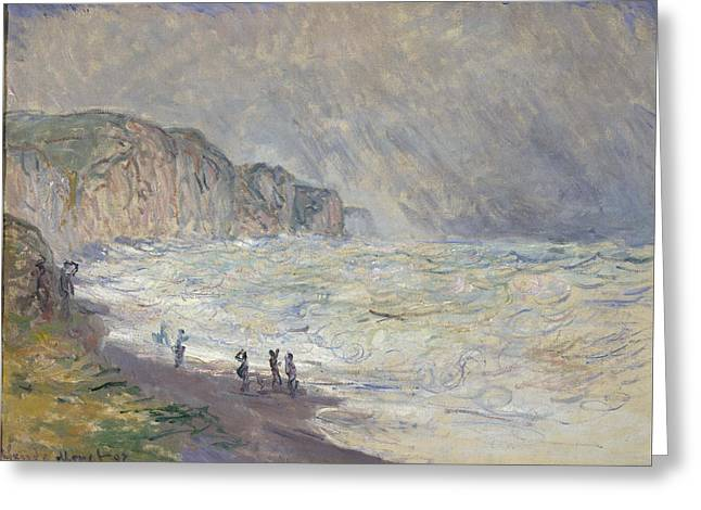Pourville Greeting Cards - Heavy Sea At Pourville Greeting Card by Claude Monet