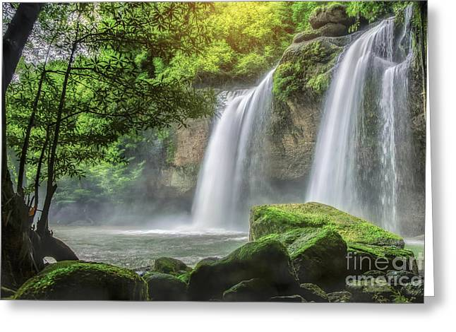 Unseen Greeting Cards - Heo Suwat Waterfall  Greeting Card by Anek Suwannaphoom