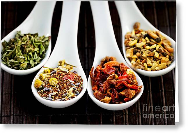 Healthy Greeting Cards - Herbal teas Greeting Card by Elena Elisseeva