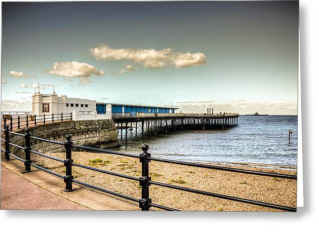 Tower Clock Greeting Cards - Herne Bay pier Greeting Card by Ian Hufton